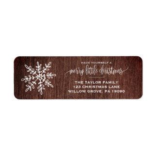 Etiqueta Grande Natal rústico do floco de neve