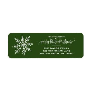 Etiqueta Grande Natal verde do floco de neve