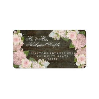 Etiqueta Grandes Hydrangeas cor-de-rosa de madeira escuros