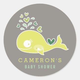Adesivo Redondo Etiqueta grávida verde do chá de fraldas da baleia