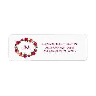 Etiqueta Grinalda bonito do monograma dos rosas floral