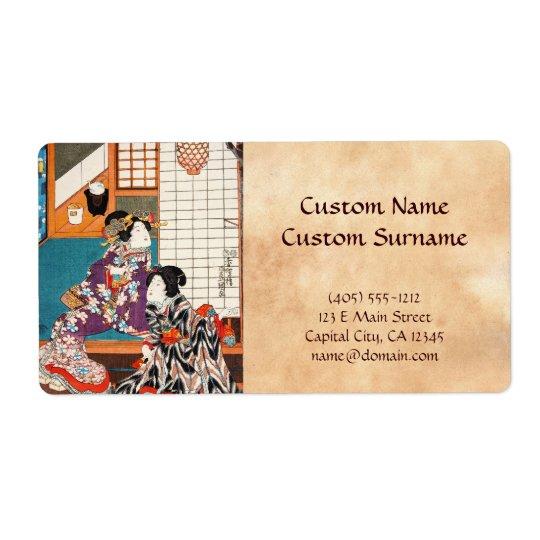 Etiqueta Gueixas japonesas Utagawa do ukiyo-e do vintage