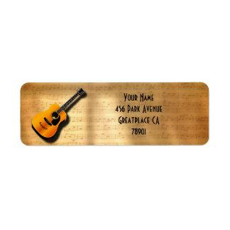 Etiqueta Guitarra acústica do vintage com nome do costume