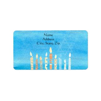 Etiqueta Hanukkah feliz Menorah