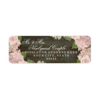 Etiqueta Hydrangeas cor-de-rosa de madeira escuros pequenos