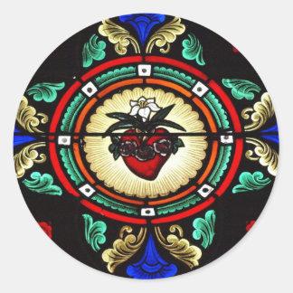 Etiqueta imaculada do vitral do coração adesivo