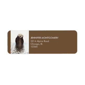Etiqueta Imagem bonito dos animais selvagens da lontra
