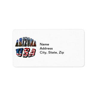 Etiqueta Imagem da arizona e de bandeira dos EUA texto