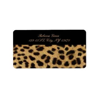Etiqueta impressão animal do leopardo do safari tribal do