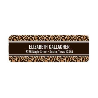 Etiqueta Impressão de Brown e de leopardo