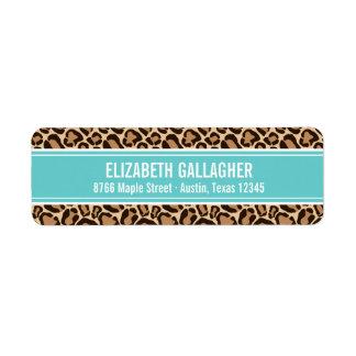 Etiqueta Impressão de turquesa e de leopardo