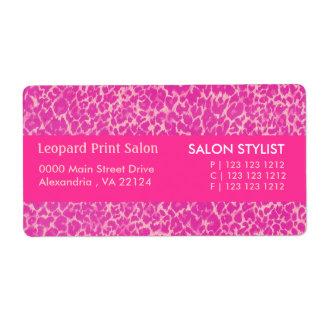 Etiqueta Impressão do leopardo do rosa quente