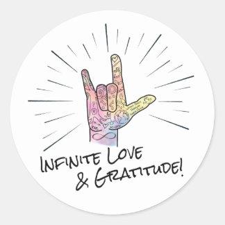 Etiqueta infinita do amor & da gratitude