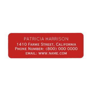 Etiqueta informação de endereço do remetente no vermelho