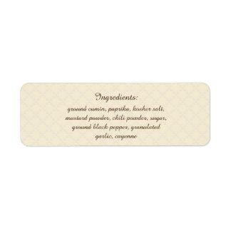 Etiqueta Ingredientes da cor da picareta da erva & da