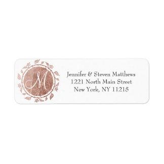 Etiqueta Iniciais florais do monograma do ouro cor-de-rosa