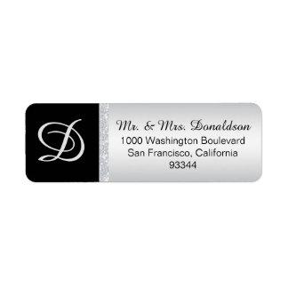 Etiqueta Inicial de prata da letra do monograma do preto do