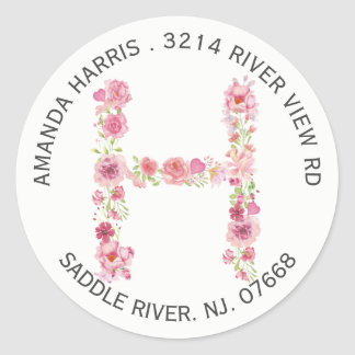 Etiqueta inicial floral do endereço do remetente