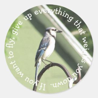 Etiqueta inspirada azul das citações de Jay