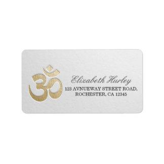 Etiqueta Instrutor da mediação da ioga do símbolo de OM do
