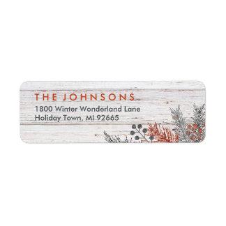 Etiqueta Inverno rústico Natal de madeira Whitewashed