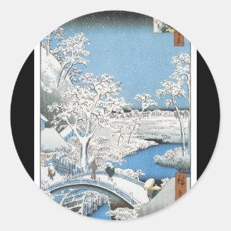 Etiqueta japonesa antiga da arte adesivos em formato redondos