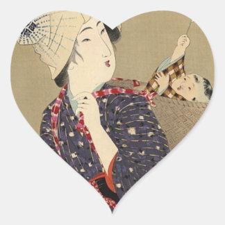 ETIQUETA JAPONESA da MÃE e do BEBÊ Adesivo Coração