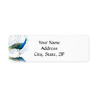 Etiqueta Jardim do pavão em azul e em branco