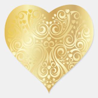 Etiqueta laçado do coração do ouro adesivo