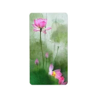 Etiqueta LAGOA LOTUS l arte da pintura da escova do chinês
