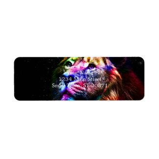 Etiqueta Leão do espaço - leão colorido - arte do leão -