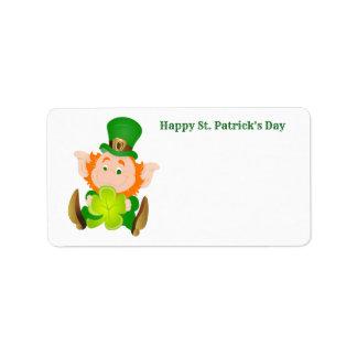 Etiqueta Leprechaun do dia de St Patrick feliz