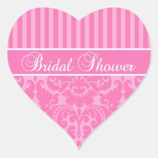 Etiqueta listrada cor-de-rosa do chá de panela do adesivo coração
