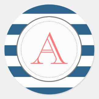 Etiqueta listrada de Mongram do marinho Adesivos Em Formato Redondos