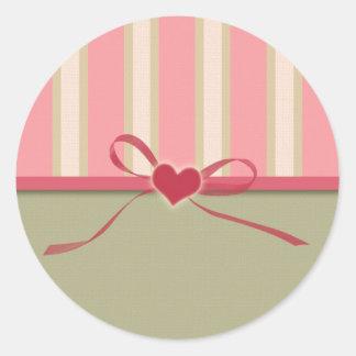 Etiqueta listrada do dia dos namorados do coração adesivos em formato redondos