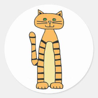 Etiqueta listrada do gato adesivos redondos