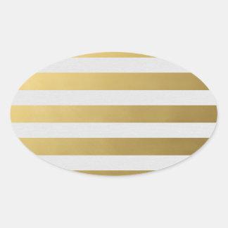 Etiqueta listrada dourada adesivo oval