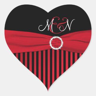 Etiqueta listrada preta, vermelha, branca do adesivo coração