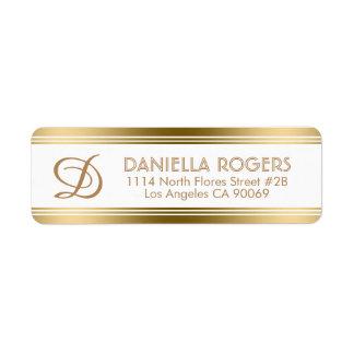 Etiqueta Listras modernas do ouro com monograma
