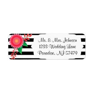 Etiqueta Listras pretas & brancas, flores cor-de-rosa do