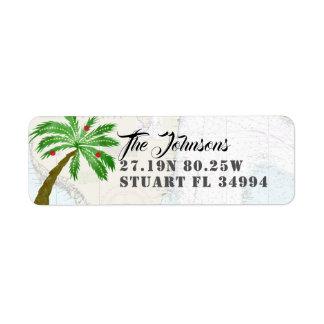 Etiqueta Longitude da latitude da palmeira do feriado do