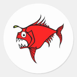 Etiqueta louca do vermelho dos peixes