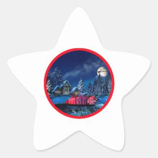 Etiqueta lustrosa da estrela da vila do inverno do adesito estrela