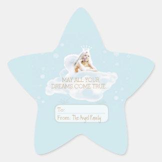 Etiqueta lustrosa da estrela do anjo ideal do adesito estrela