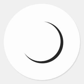 Etiqueta lustrosa redonda da lua crescente