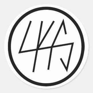 Etiqueta lustrosa redonda do logotipo de LKS