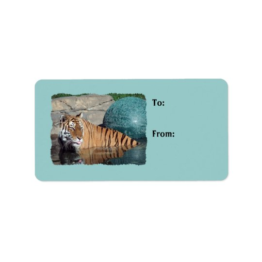 Etiqueta Luz da foto do tigre de Bengal - o presente azul