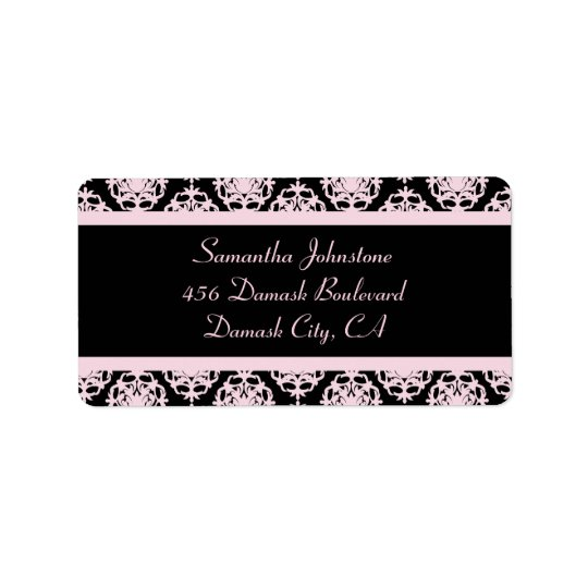 Etiqueta Luz - damasco cor-de-rosa no preto
