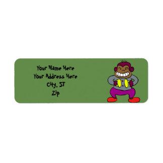 Etiqueta Macaco retro com brinquedo dos pratos