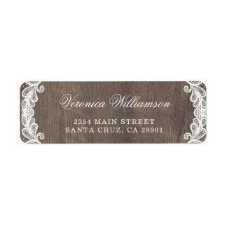 Etiqueta Madeira rústica do celeiro do país & casamento do